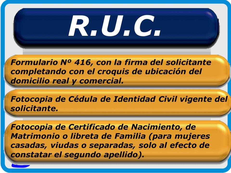 R.U.C. Formulario Nº 416, con la firma del solicitante completando con el croquis de ubicación del domicilio real y comercial.
