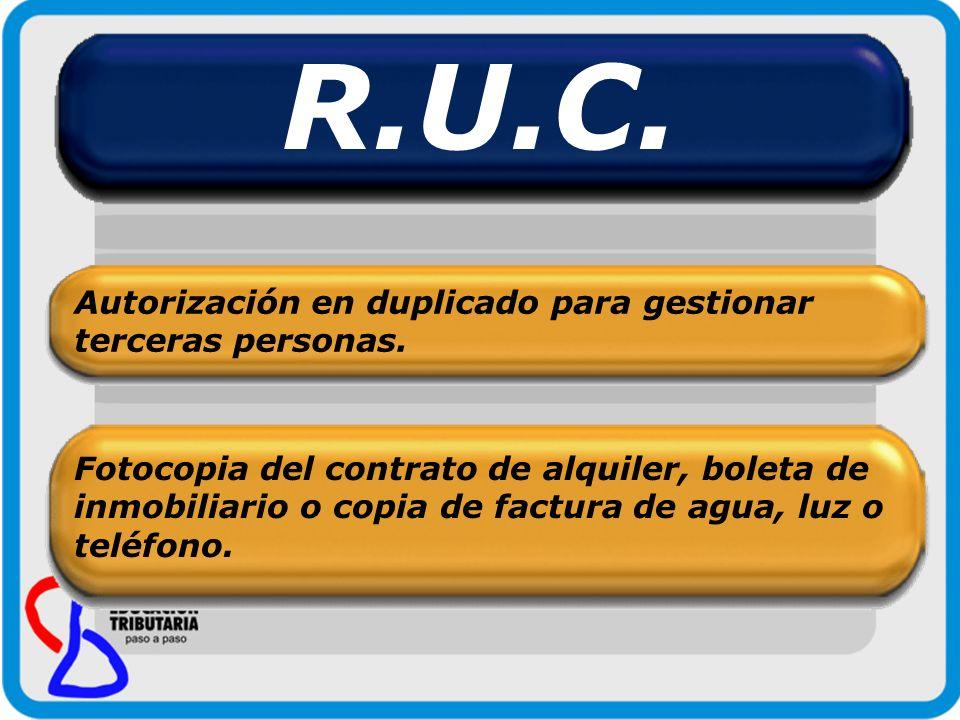 R.U.C. Autorización en duplicado para gestionar terceras personas.