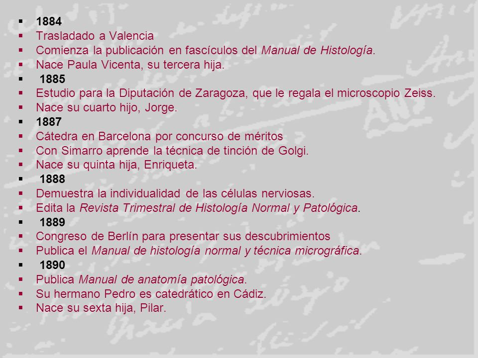 1884 Trasladado a Valencia. Comienza la publicación en fascículos del Manual de Histología. Nace Paula Vicenta, su tercera hija.