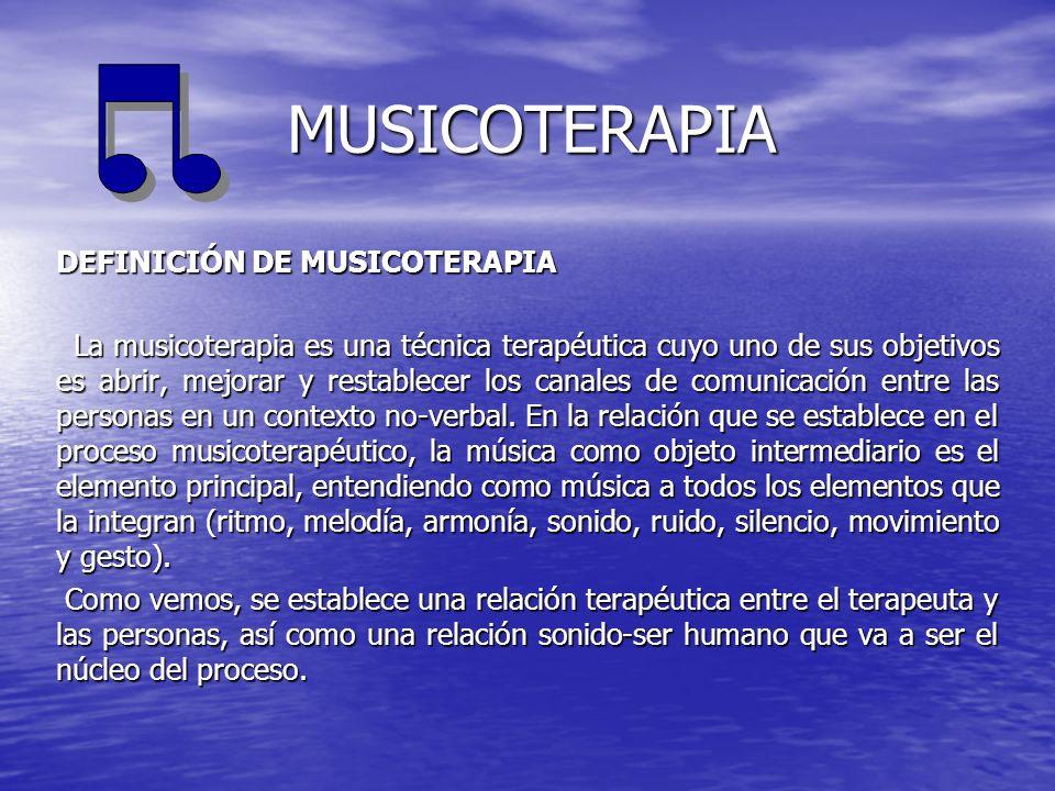 MUSICOTERAPIA DEFINICIÓN DE MUSICOTERAPIA