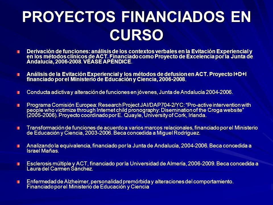 PROYECTOS FINANCIADOS EN CURSO