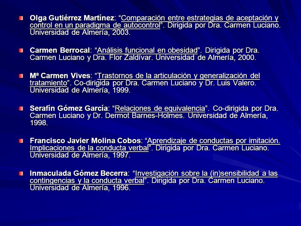 Olga Gutiérrez Martínez: Comparación entre estrategias de aceptación y control en un paradigma de autocontrol . Dirigida por Dra. Carmen Luciano. Universidad de Almería, 2003.