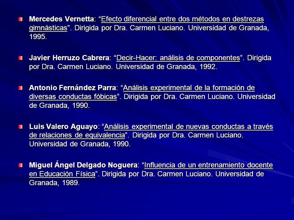 Mercedes Vernetta: Efecto diferencial entre dos métodos en destrezas gimnásticas . Dirigida por Dra. Carmen Luciano. Universidad de Granada, 1995.