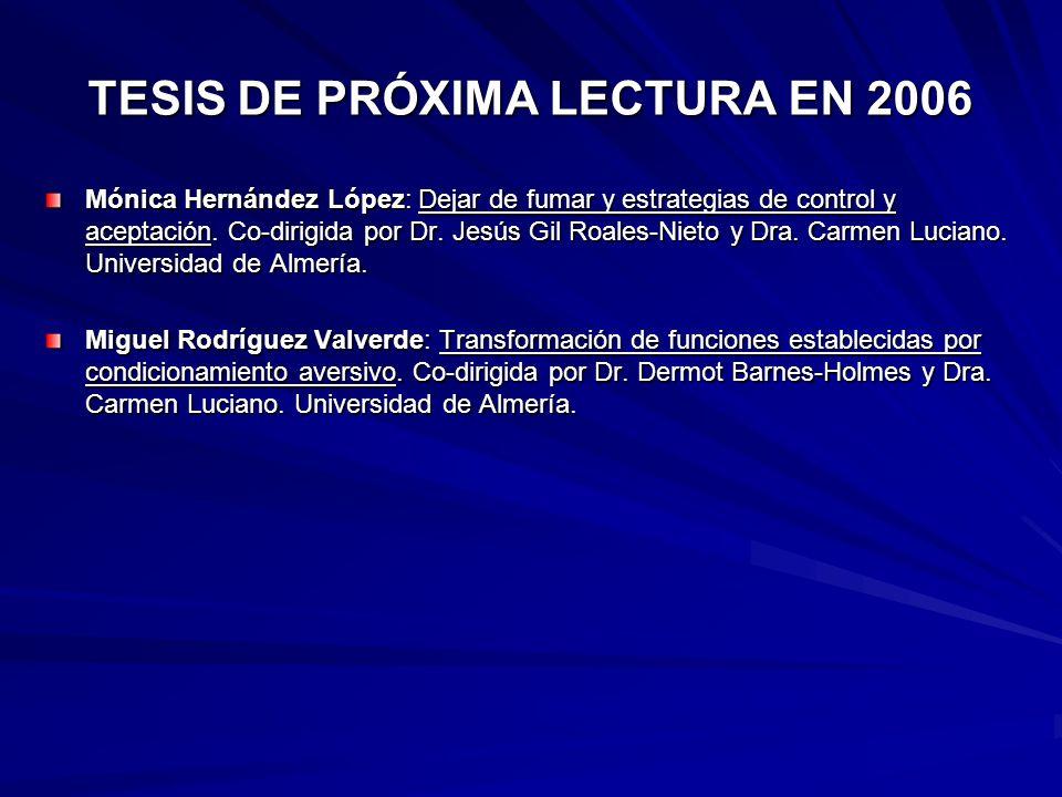 TESIS DE PRÓXIMA LECTURA EN 2006