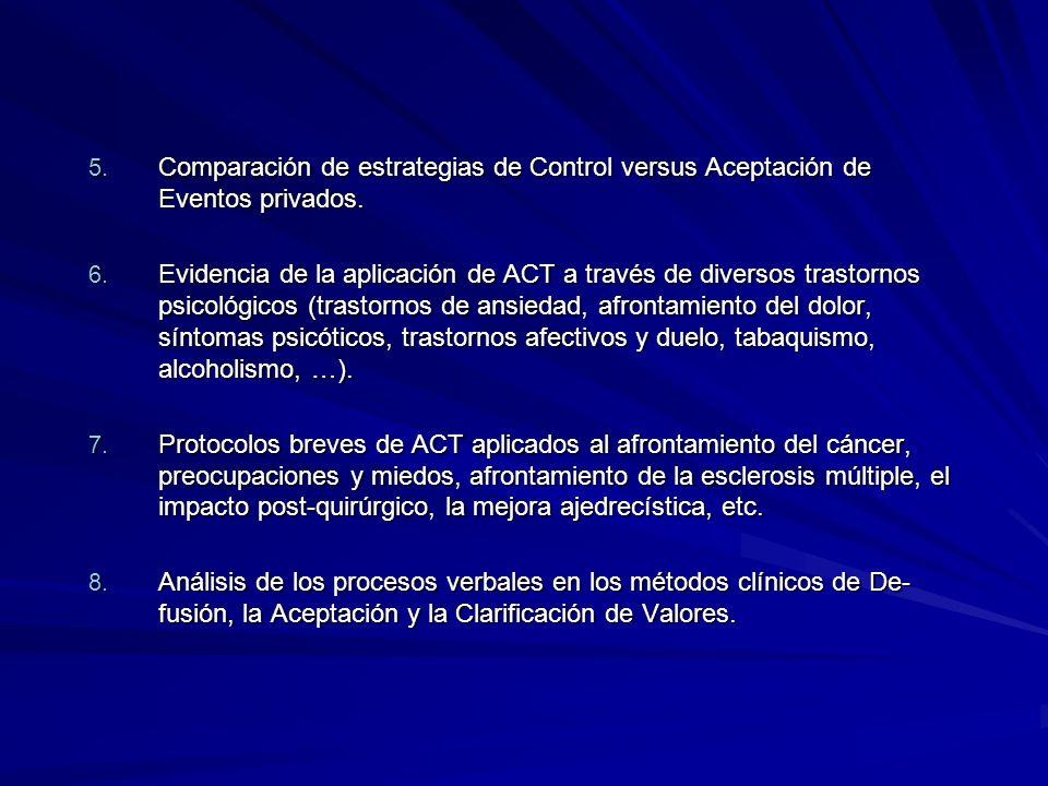Comparación de estrategias de Control versus Aceptación de Eventos privados.