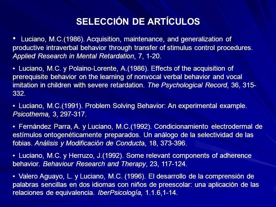 SELECCIÓN DE ARTÍCULOS