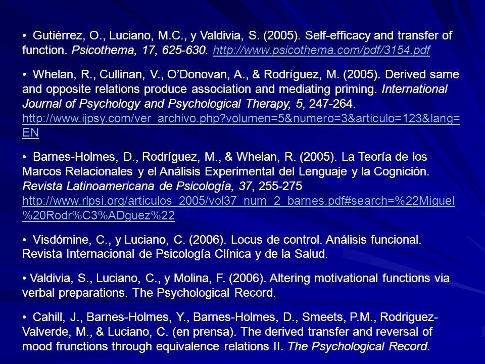 Gutiérrez, O. , Luciano, M. C. , y Valdivia, S. (2005)
