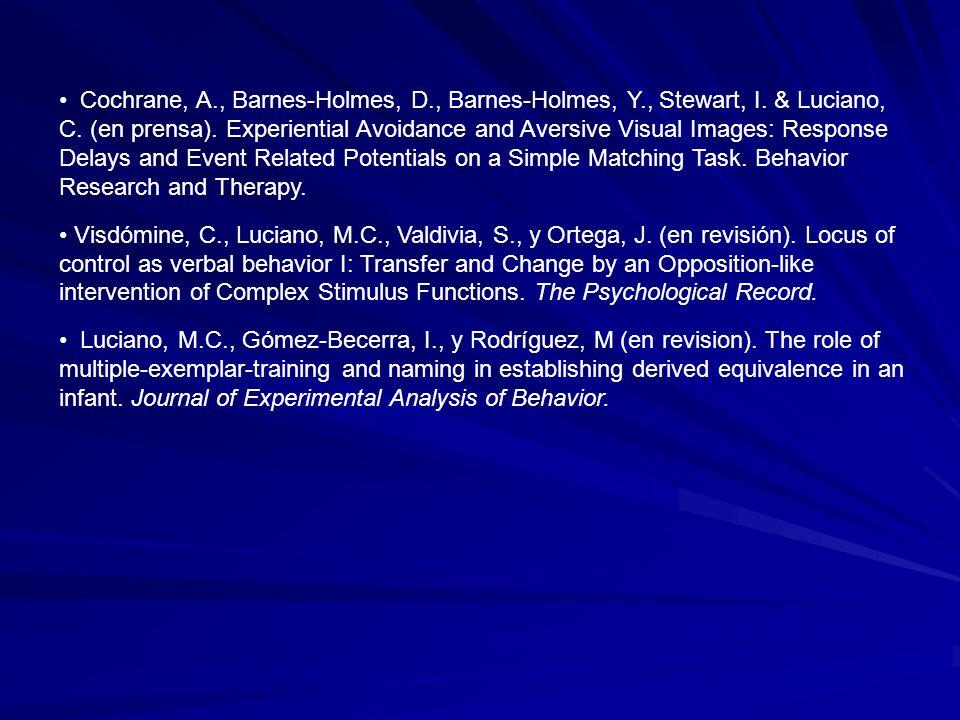 Cochrane, A. , Barnes-Holmes, D. , Barnes-Holmes, Y. , Stewart, I