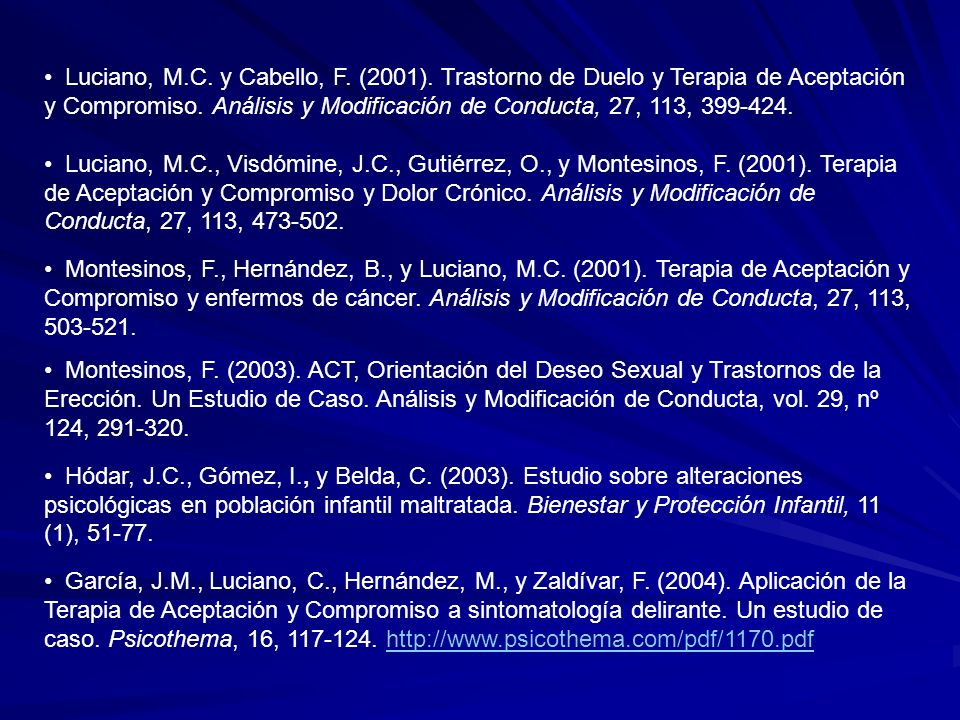 Luciano, M. C. y Cabello, F. (2001)