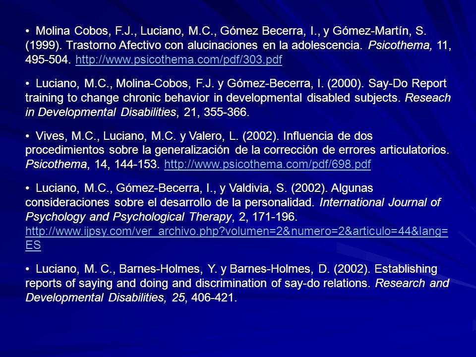 Molina Cobos, F. J. , Luciano, M. C. , Gómez Becerra, I