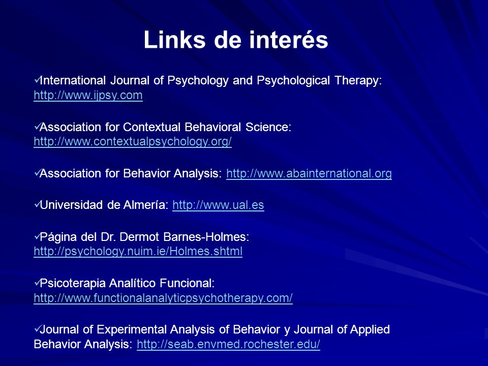 Links de interés International Journal of Psychology and Psychological Therapy: http://www.ijpsy.com.