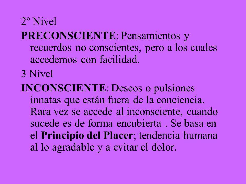 2º Nivel PRECONSCIENTE: Pensamientos y recuerdos no conscientes, pero a los cuales accedemos con facilidad.