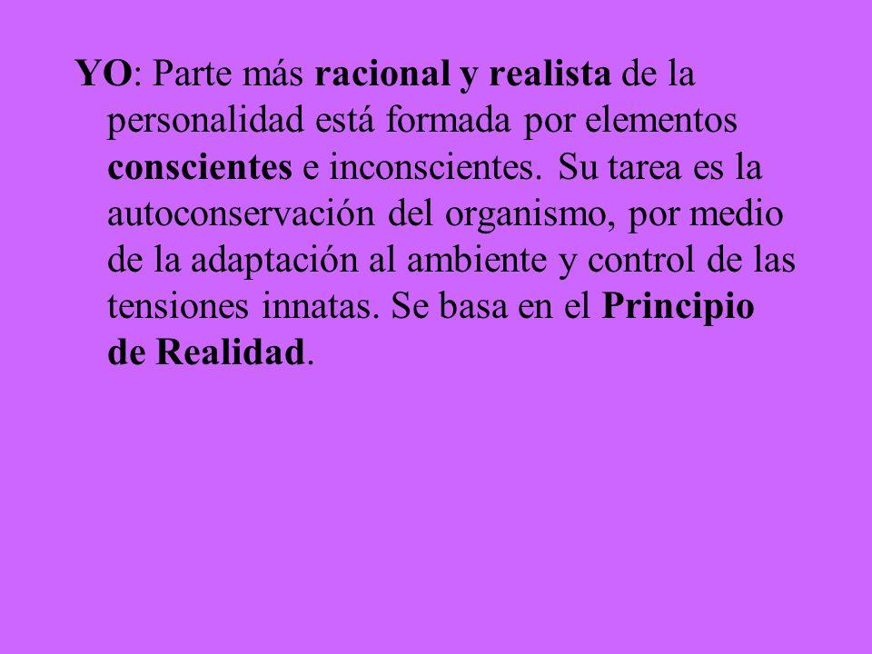 YO: Parte más racional y realista de la personalidad está formada por elementos conscientes e inconscientes.