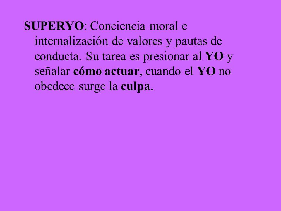 SUPERYO: Conciencia moral e internalización de valores y pautas de conducta.