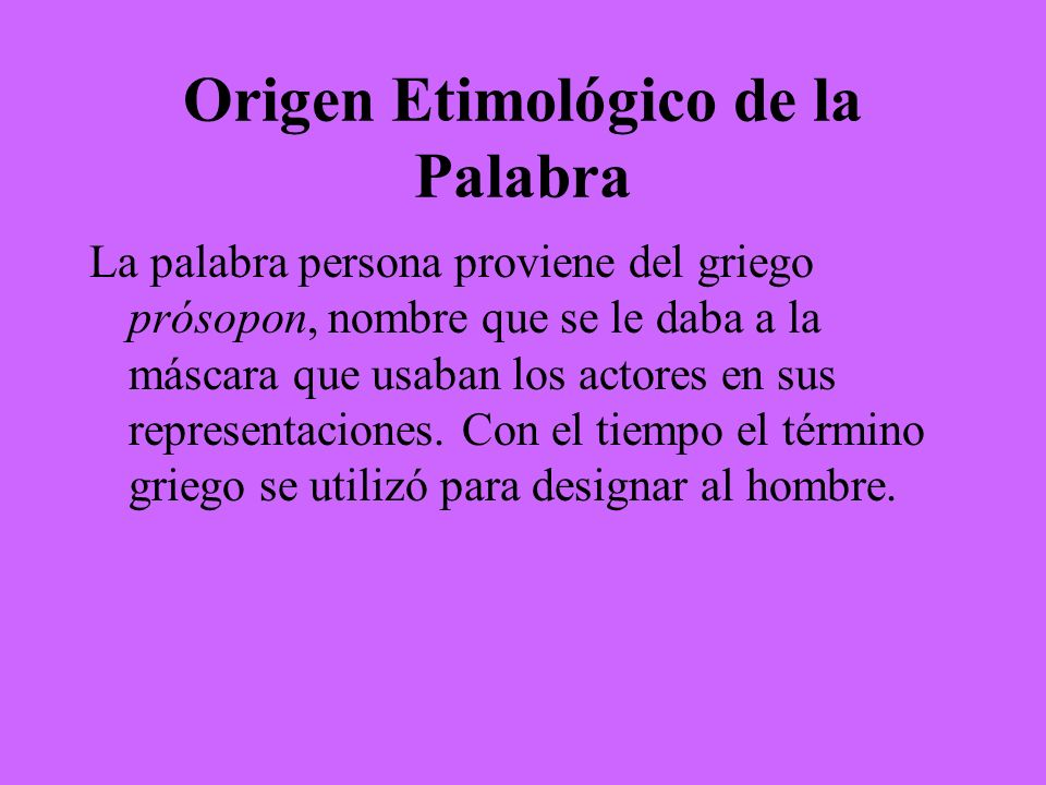 Origen Etimológico de la Palabra