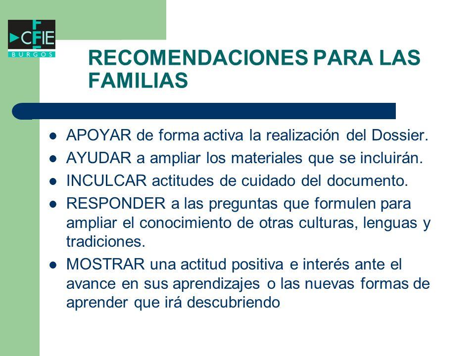 RECOMENDACIONES PARA LAS FAMILIAS
