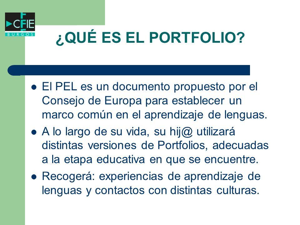 ¿QUÉ ES EL PORTFOLIO El PEL es un documento propuesto por el Consejo de Europa para establecer un marco común en el aprendizaje de lenguas.