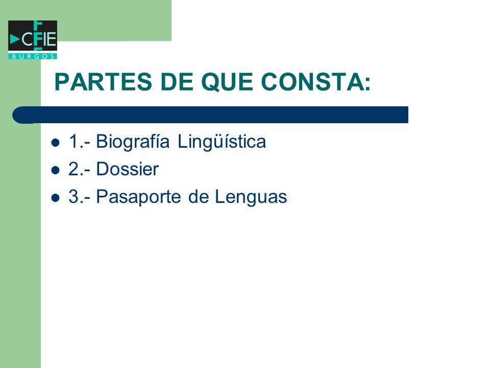 PARTES DE QUE CONSTA: 1.- Biografía Lingüística 2.- Dossier