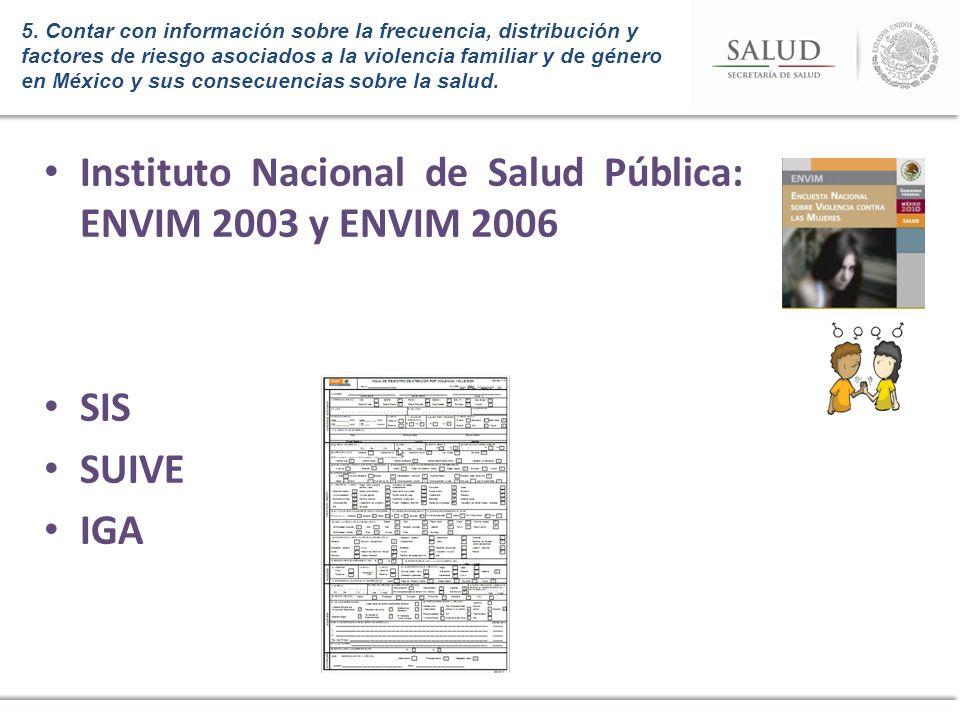 Instituto Nacional de Salud Pública: ENVIM 2003 y ENVIM 2006