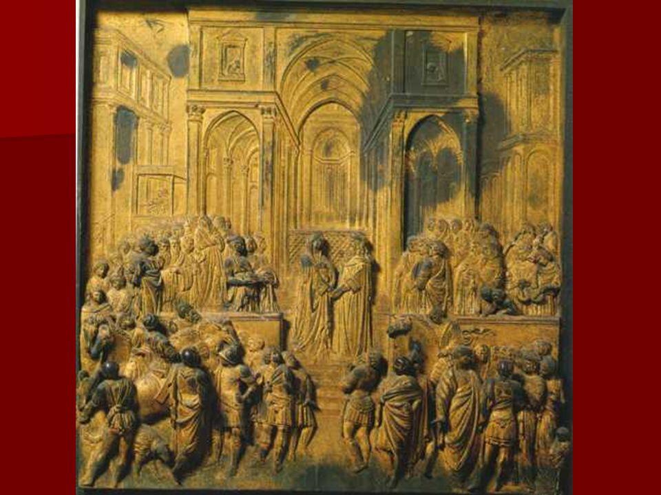 El formato rectangular de los relieves, al tiempo que rompe con la forma lobulada de reminiscencias góticas, subraya el esquema perspectivo desde el que se proyectan las diferentes composiciones.