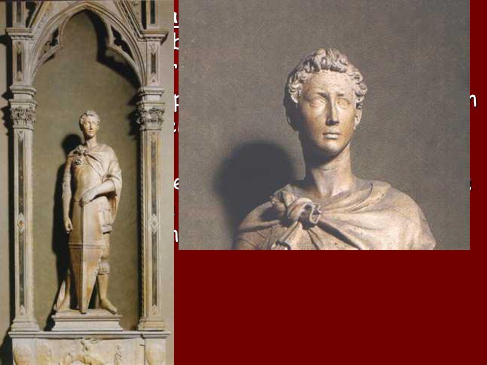 El enérgico San Jorge , patrono de los espaderos y fabricantes de armaduras, es la obra más admirada de Or San Michele.