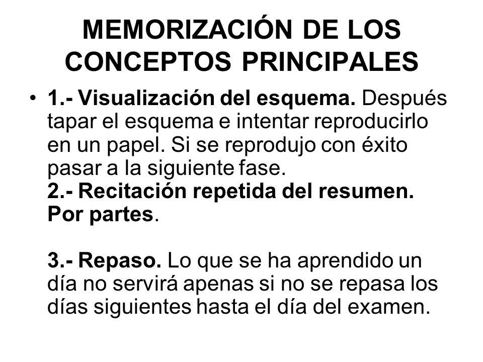 MEMORIZACIÓN DE LOS CONCEPTOS PRINCIPALES
