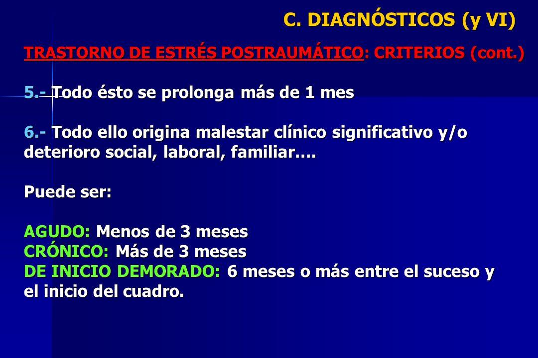 C. DIAGNÓSTICOS (y VI) 5.- Todo ésto se prolonga más de 1 mes