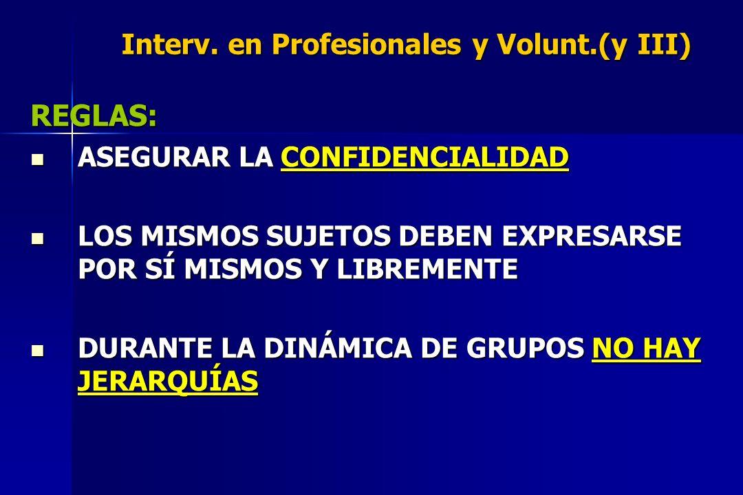 Interv. en Profesionales y Volunt.(y III)