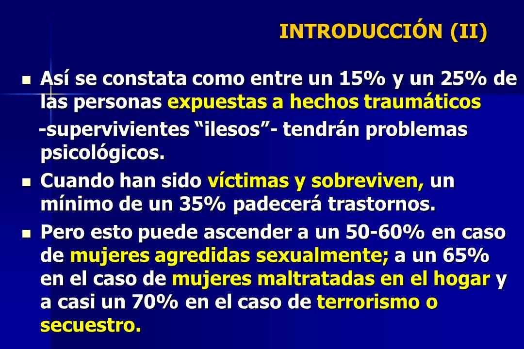 INTRODUCCIÓN (II) Así se constata como entre un 15% y un 25% de las personas expuestas a hechos traumáticos.