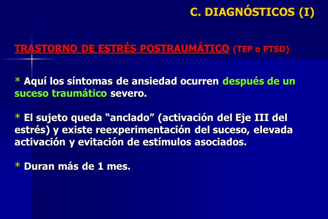 C. DIAGNÓSTICOS (I) TRASTORNO DE ESTRÉS POSTRAUMÁTICO (TEP o PTSD)
