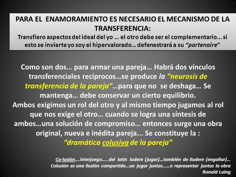 PARA EL ENAMORAMIENTO ES NECESARIO EL MECANISMO DE LA TRANSFERENCIA: