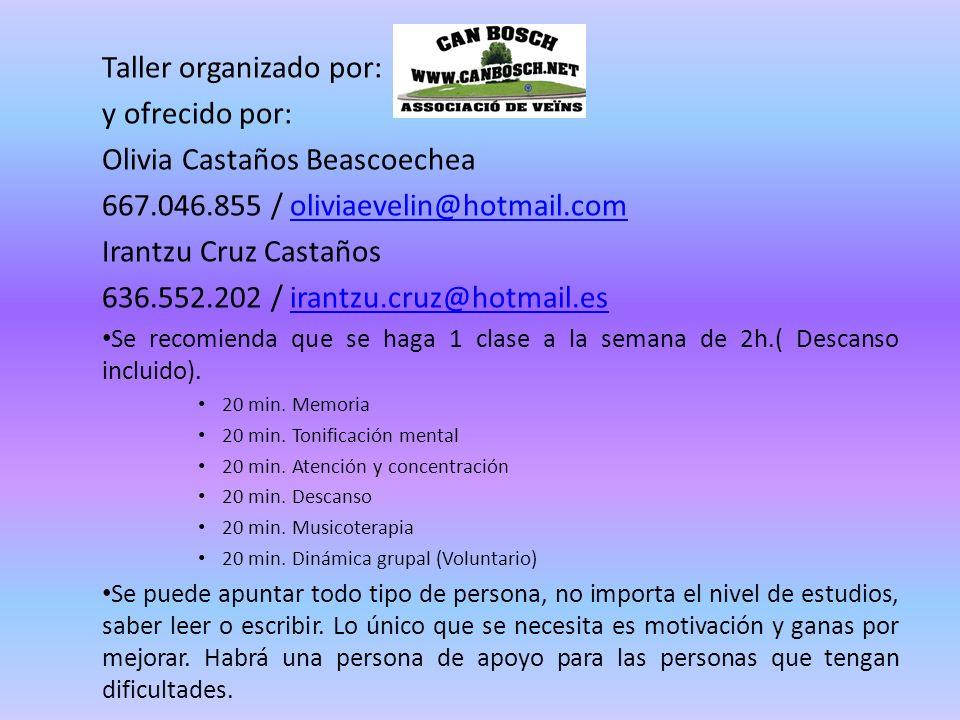 Taller organizado por: y ofrecido por: Olivia Castaños Beascoechea