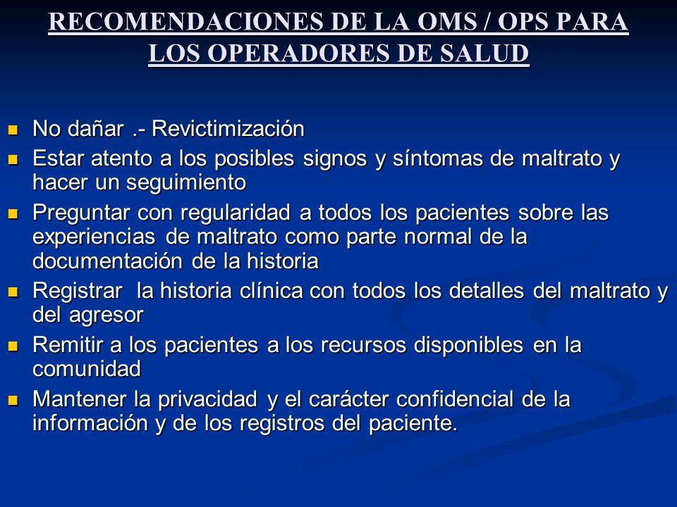 RECOMENDACIONES DE LA OMS / OPS PARA LOS OPERADORES DE SALUD