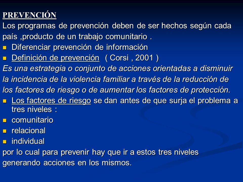 PREVENCIÓN Los programas de prevención deben de ser hechos según cada. país ,producto de un trabajo comunitario .