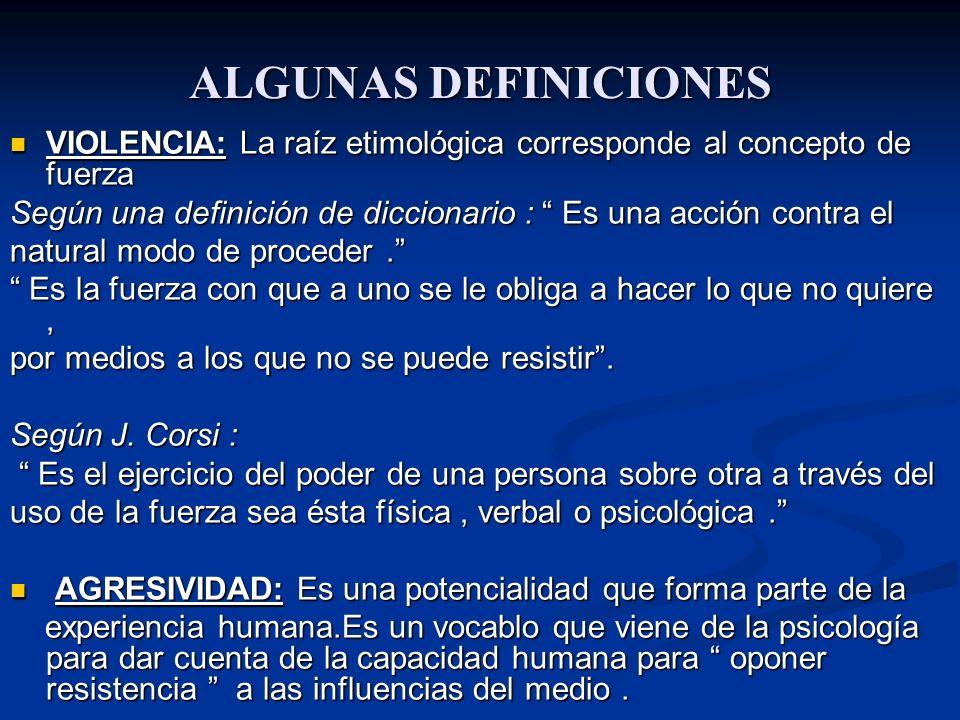 ALGUNAS DEFINICIONES VIOLENCIA: La raíz etimológica corresponde al concepto de fuerza.