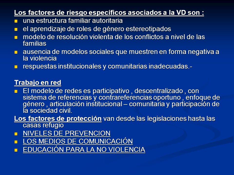 Los factores de riesgo específicos asociados a la VD son :
