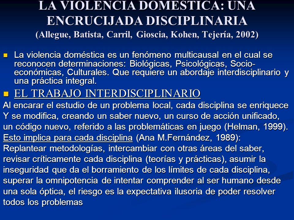 LA VIOLENCIA DOMESTICA: UNA ENCRUCIJADA DISCIPLINARIA (Allegue, Batista, Carril, Gioscia, Kohen, Tejería, 2002)