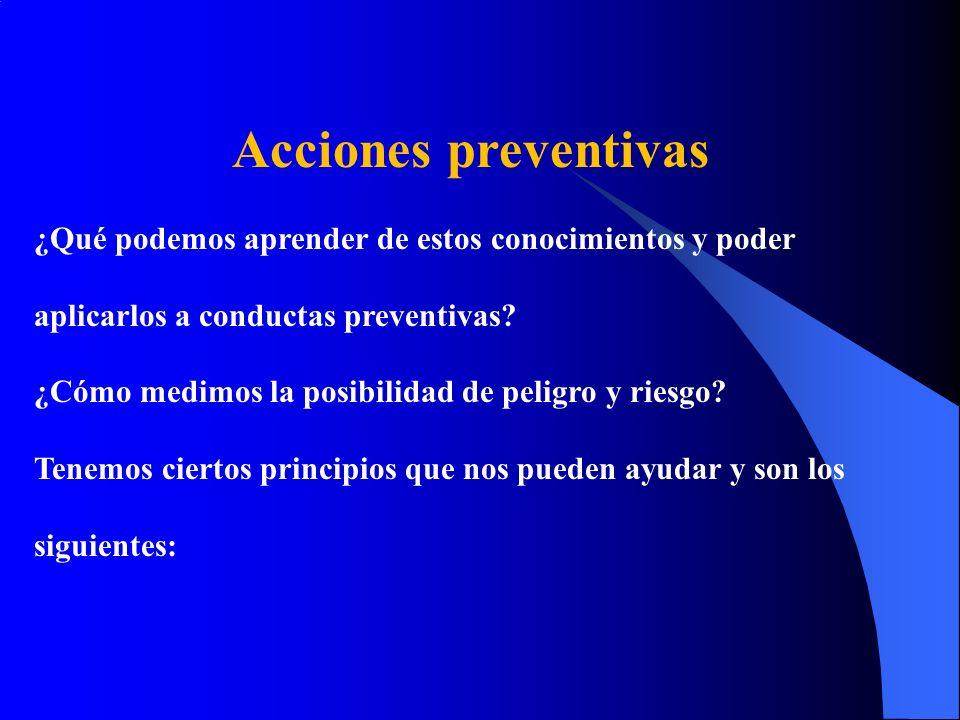 Acciones preventivas ¿Qué podemos aprender de estos conocimientos y poder. aplicarlos a conductas preventivas
