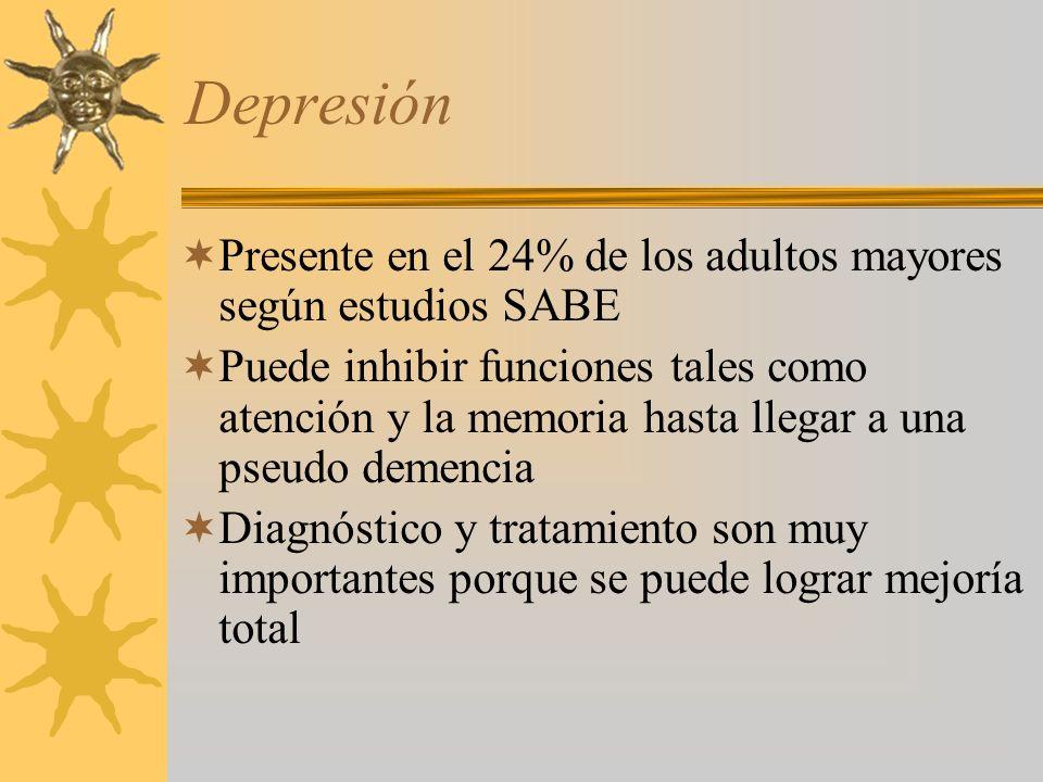 Depresión Presente en el 24% de los adultos mayores según estudios SABE.