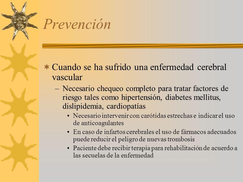 Prevención Cuando se ha sufrido una enfermedad cerebral vascular