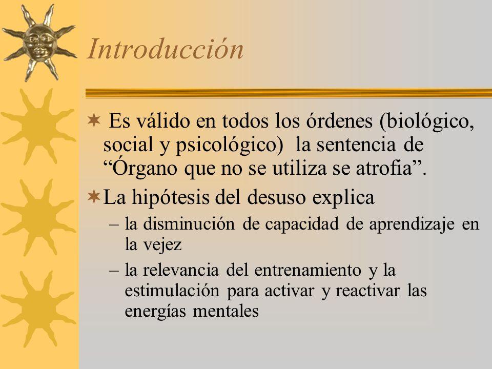 Introducción Es válido en todos los órdenes (biológico, social y psicológico) la sentencia de Órgano que no se utiliza se atrofia .