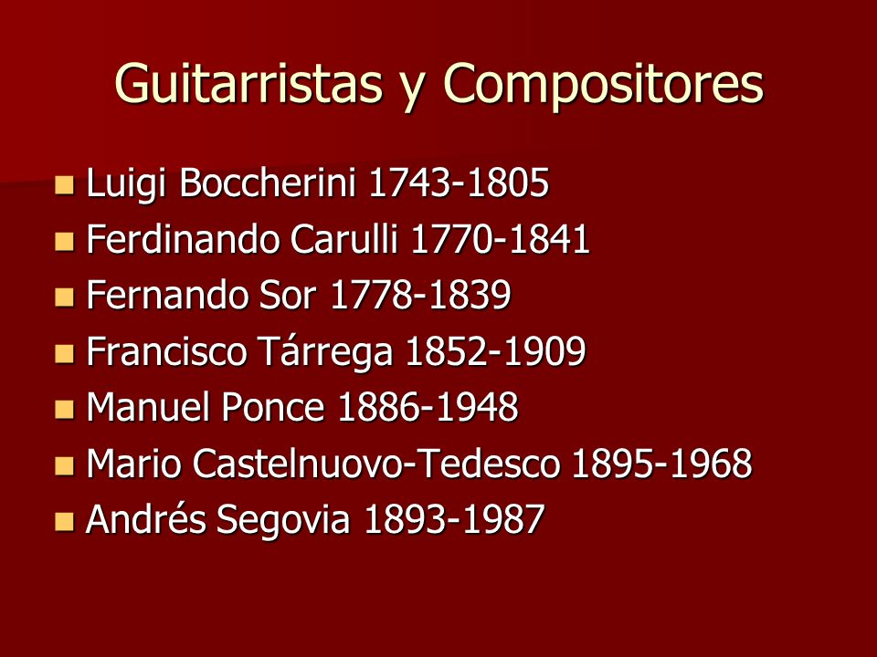 Guitarristas y Compositores