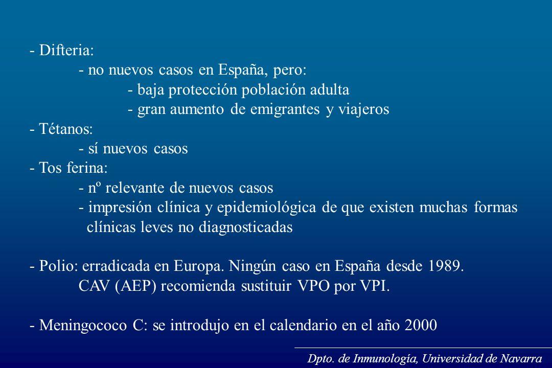 - no nuevos casos en España, pero: - baja protección población adulta