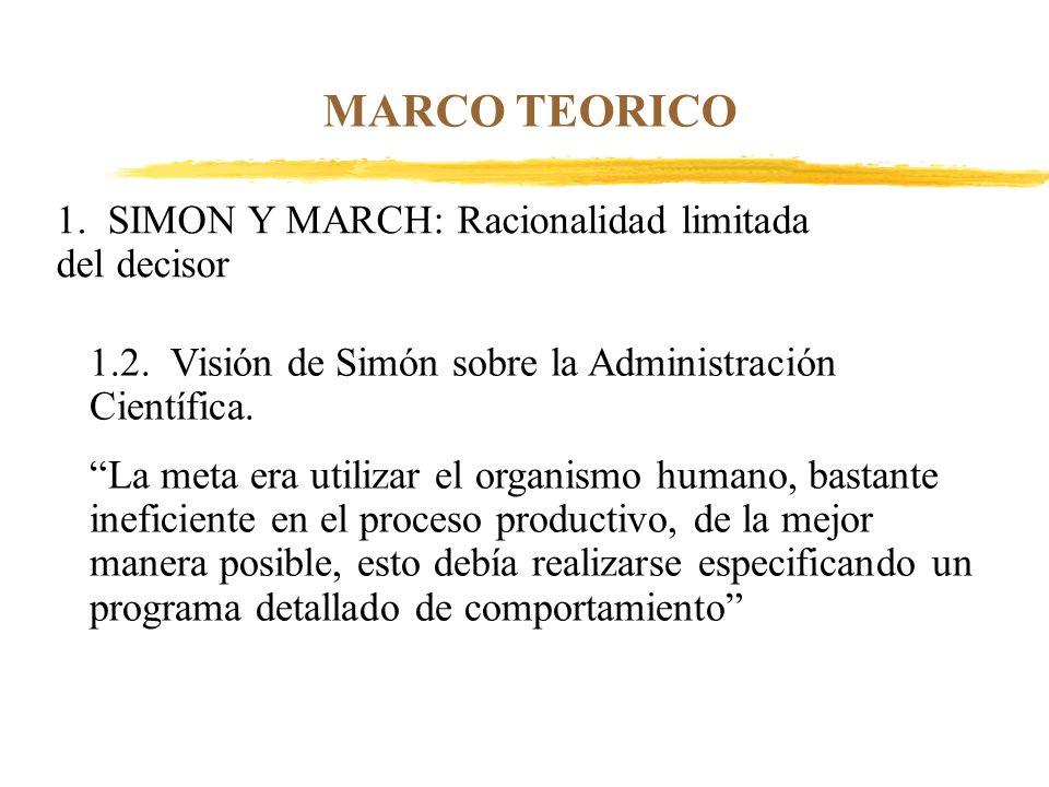 MARCO TEORICO 1. SIMON Y MARCH: Racionalidad limitada del decisor