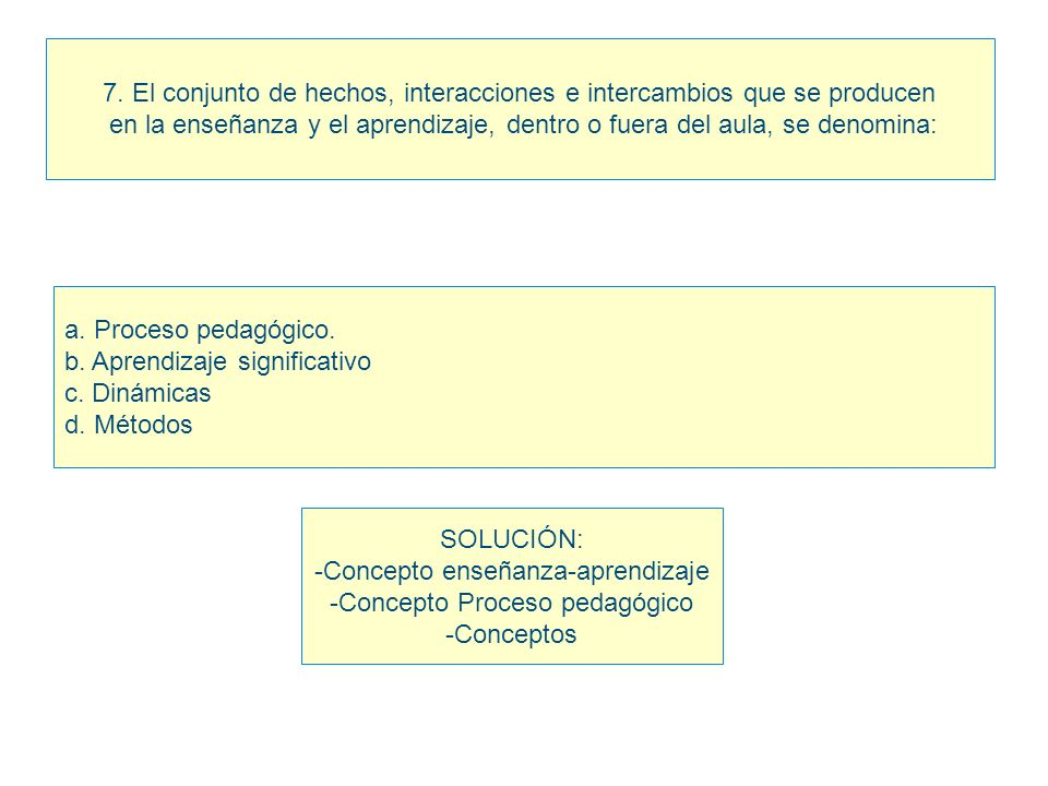 7. El conjunto de hechos, interacciones e intercambios que se producen