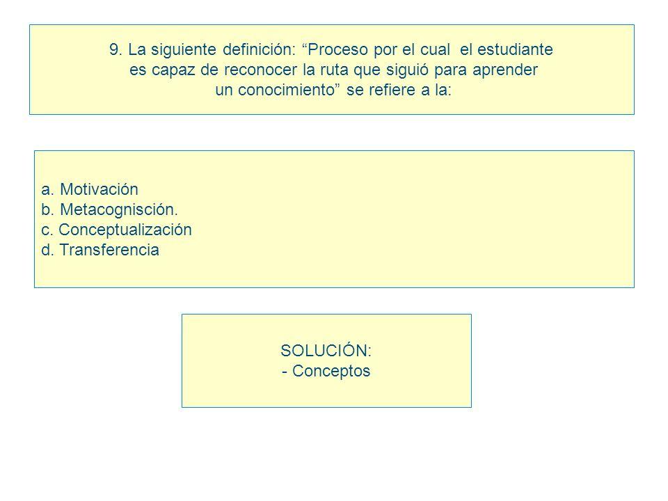 9. La siguiente definición: Proceso por el cual el estudiante