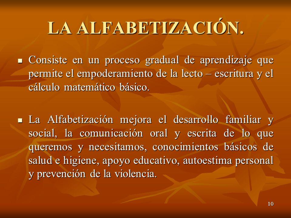 LA ALFABETIZACIÓN.