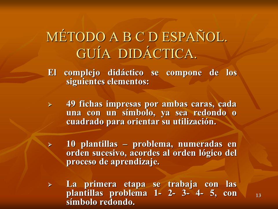 MÉTODO A B C D ESPAÑOL. GUÍA DIDÁCTICA.