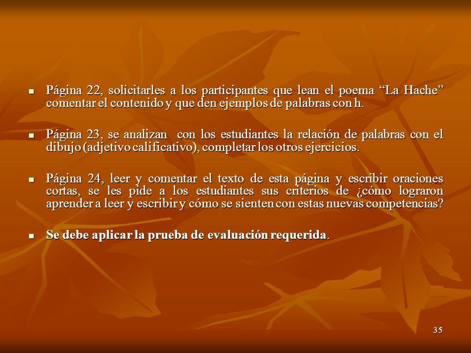 Página 22, solicitarles a los participantes que lean el poema La Hache comentar el contenido y que den ejemplos de palabras con h.