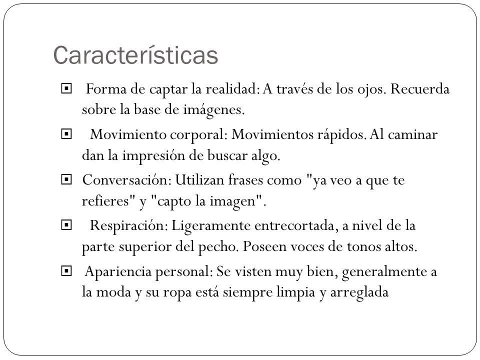 Características Forma de captar la realidad: A través de los ojos. Recuerda sobre la base de imágenes.